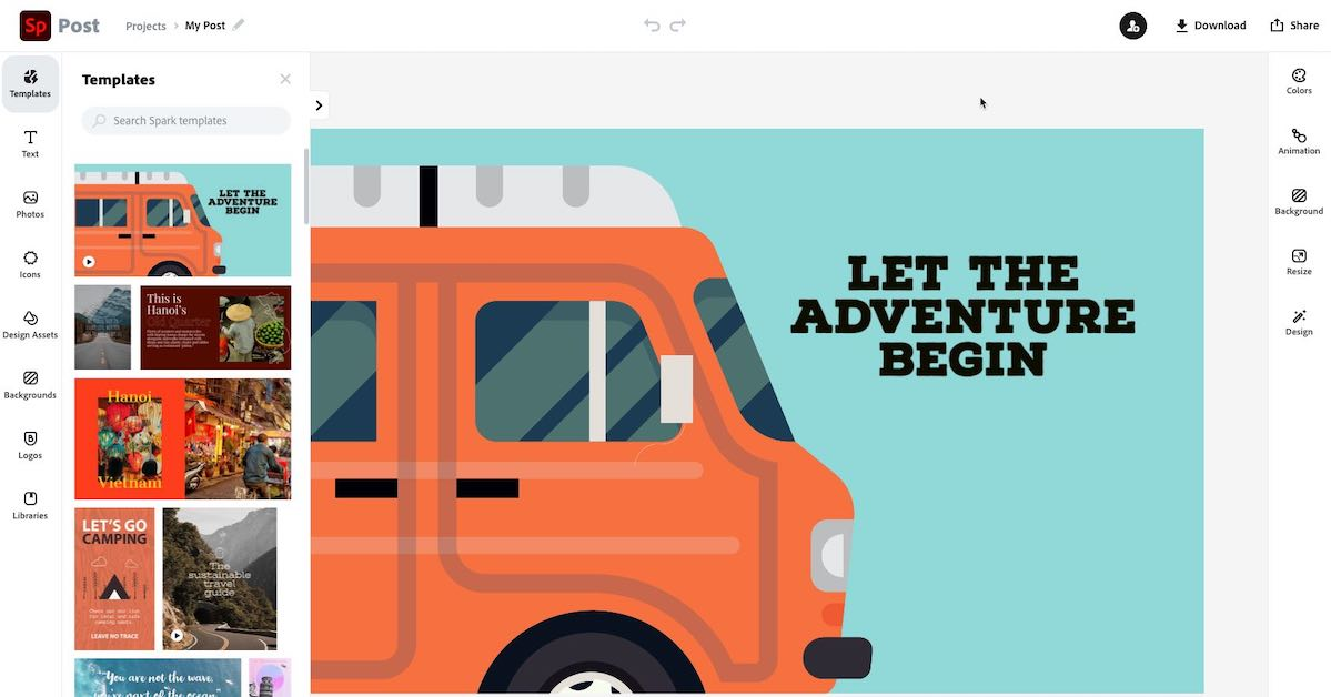 Screenshot of Adobe Spark online application with image of a camper van and some text.