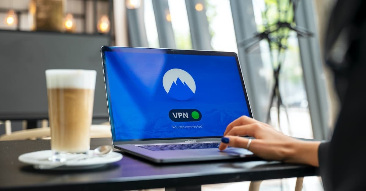 image of a user securing a connection on their laptop via a VPN