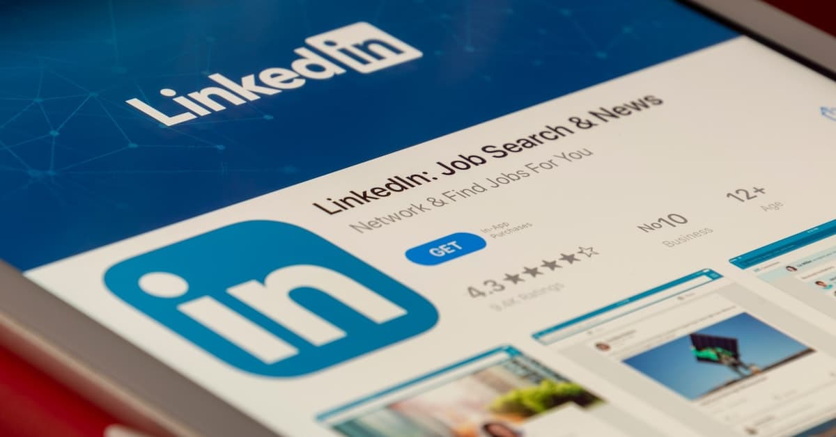 Image of a mobile device showing the LinkedIn app in the app store
