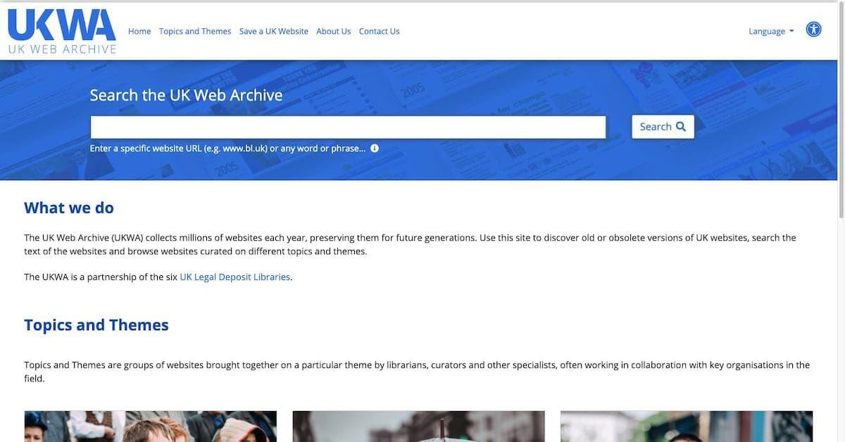 Screenshot of the main UKWA website home page